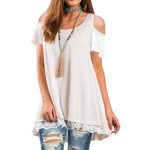 Tunique Manches Mode T Chemisier Chemise Bustier Dentelle Casual Chic Couture Kangrunmy Court Loose R Shirt Femme Top PqSBw1xF