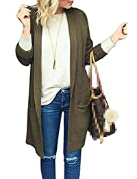 Jumojufol Women's Knit Long Sleeve Open Front Fall Long Cardigan Sweaters