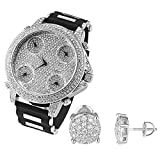 Iced Out Studs Earrings Cluster Set Studs Techno Pave 5 Time Zone Watch Bullet Band