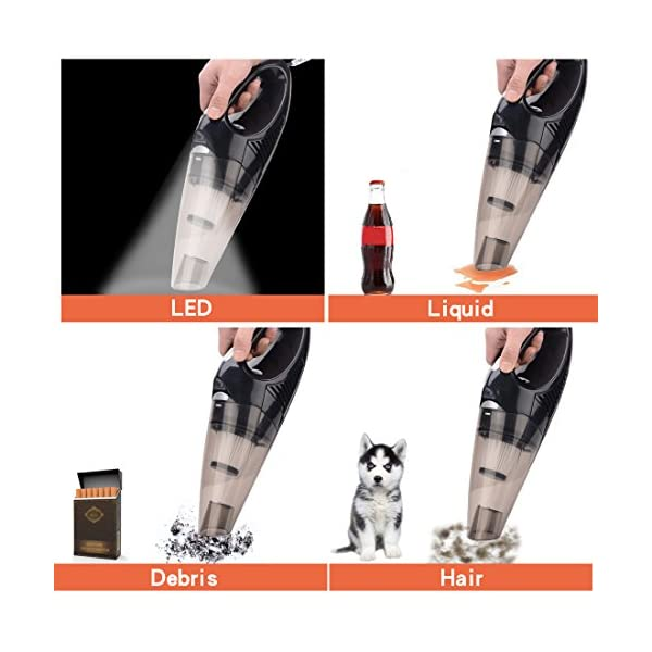 Car Vacuum Cleaner With LED Light DC 12 Volt 106W Portable Handheld Auto Vacuum Cleaners For Car 164FT Power Code HEPA Filters By MEWAY