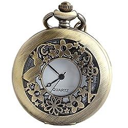 VIGOROSO Watches Alice Rabbit Flower Vintage Retro Steampunk Pocket Watch Gift in Black Box