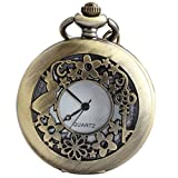 VIGOROSO Watches Alice Rabbit Flower Vintage Retro Steampunk Necklace Pocket Watch in Black Box