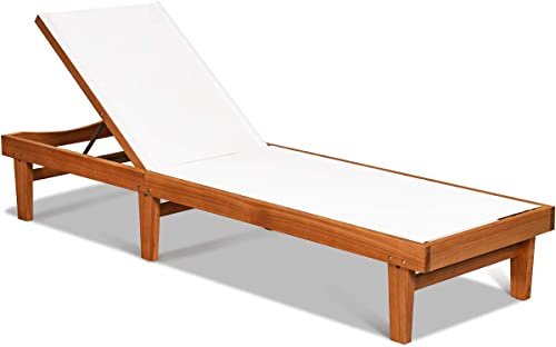 Tangkula Outdoor Wood Chaise Lounge Chair