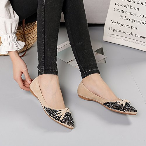 Slip Meeshine Womens Rhinestone Shoes Bow Ballerina Ballet Classic Toe on Dress Flats Comfort Beige Pointed nBdTnq8wv