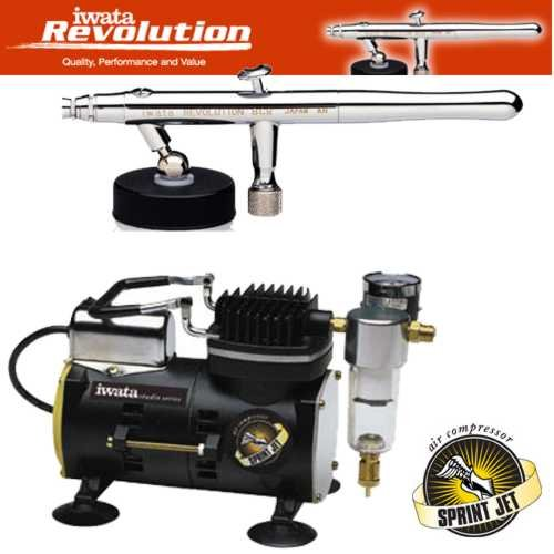 Iwata Sprint Jet Compressor - Iwata 4211 Siphon Airbrush Kit along with the Iwata IS800 Sprint Jet Air Comp...