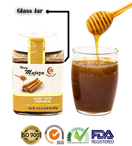 Mujeza Raw Honey with Ceylon Cinnamon - Unheated Unfiltered Unprocessed 100% Natural Raw Honey (300g /10.6 oz)