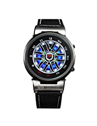 TVG Fashion Men Boys Sports Watches Creative Car Roulette Blue Led Dispaly Binary Watch Men (black)