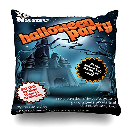 Ahawoso Throw Pillow Cover Hallowen Helloween School Childrens Party Holidays Leaflet Scary Black Castle Design Decorative Pillowcase Square Size 18