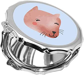 مرآة جيب، بتصميم قطة سعيدة، شكل دائري