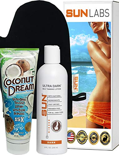 Fiesta Sun Coconut Dream Ultra Dark Tanning with Clear Bronzers, 8 oz + Sun Laboratories Ultra Dark Self Tanner 8 oz + Tanning Mitt - Tanning Lotion- Natural Tanning Lotion, Body and Face for Bronzing