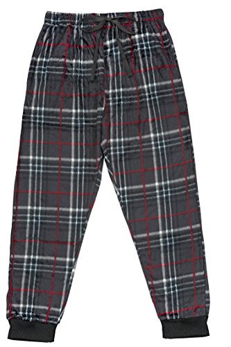 Super Soft Fleece Pants (North 15 Men's Super Soft, Plaid Minky Fleece Lounge Pants -1220-Design1-Lg)