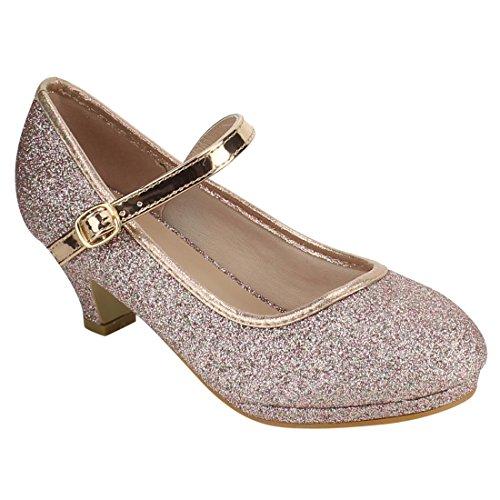 Forever Link Girl's Mary Jane Pump Rose Gold Glitter 13