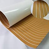 Second Generation Upgrade EVA Faux Teak Decking Sheet For Boat Yacht Non-Slip 94.5''× 35.4'' Bevel Edges (gold with white lines)
