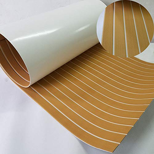 """Second Generation Upgrade EVA Faux Teak Decking Sheet For Boat Yacht Non-Slip 94.5""""× 35.4"""" Bevel Edges (gold with white lines)"""