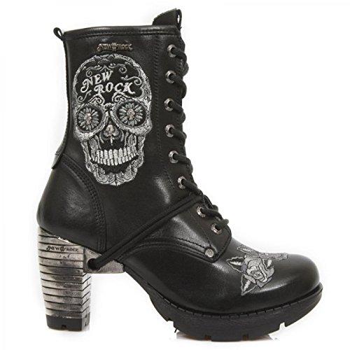 New Rock Laarzen M.tr048-s1 Gothic Hardrock Punk Damen Stiefelette Schwarz