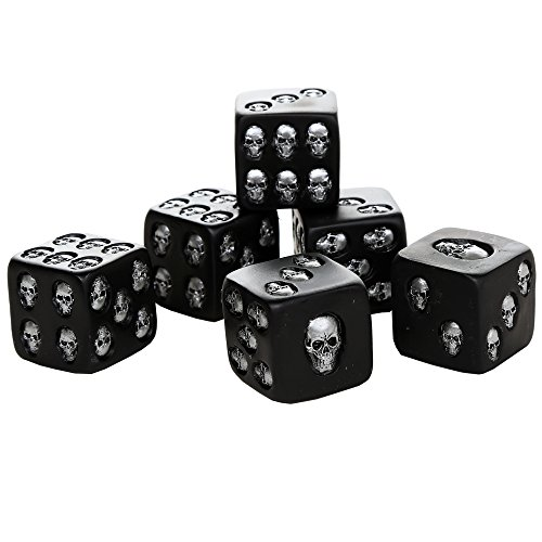 Pacific Giftware Decorative Black Skull Dice of Death 1.5 Inches Each Set of 6 -