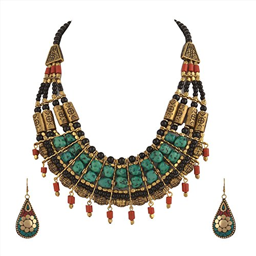 Zephyrr Tibetan Necklace Jade Choker and Earrings Sets for Women Statement Ethnic Jewelry for Girls