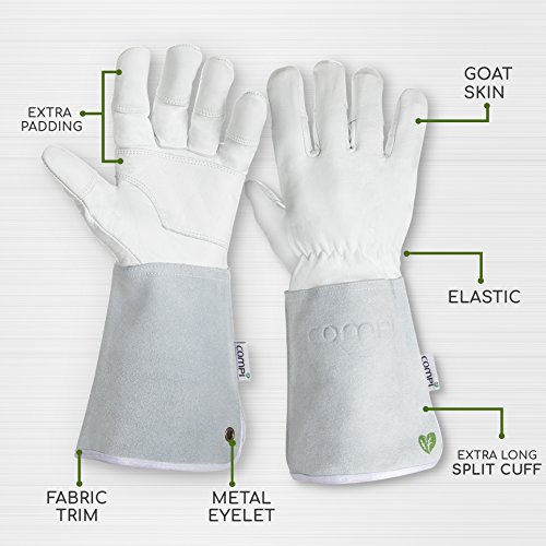 Professional Rose Pruning Garden Gloves - Luxurious Goatskin Leather with Reinforced Padding and Long Cowhide Suede Gauntlets - Flower Planting, Pruning, and Gardening Glove Gift Set - Womens, Small by COMPI (Image #2)