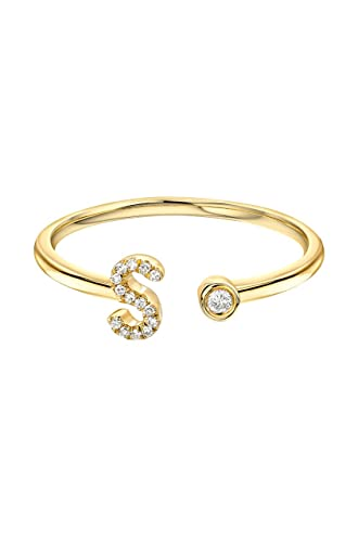 Amazon Diamond initial cuff ring 14k solid gold Zoe Lev