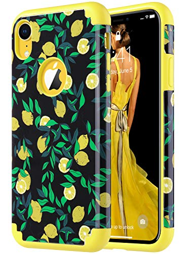(ULAK iPhone XR Case Yellow, Slim Fit Hybrid Soft Silicone Hard Back Cover Anti Scratch Bumper Design Protective Case for Apple iPhone XR 6.1 inch 2018, Lemon Drop)
