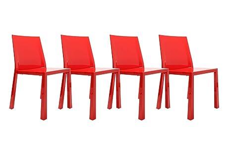 Miliboo sedie design rosse laccate in policarbonato mona gruppo