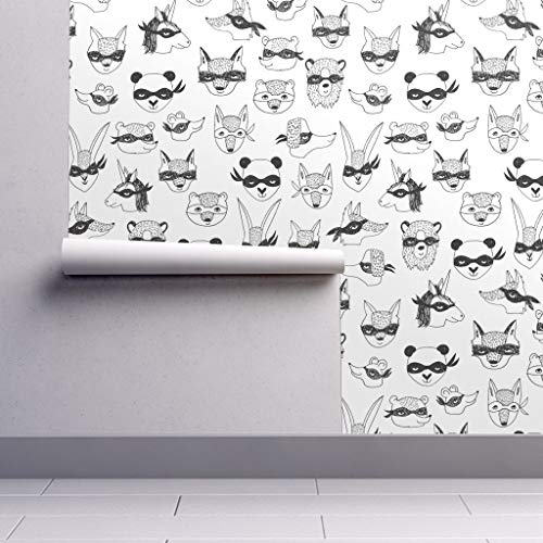 Bandit Animals // Kids Dress up Cute Masks Robbers Cute Kids Play time Wallpaper Roll - Animal Costume Black and White Bandit Dress Up by Andrea Lauren - 1 Roll 24in x 27ft]()