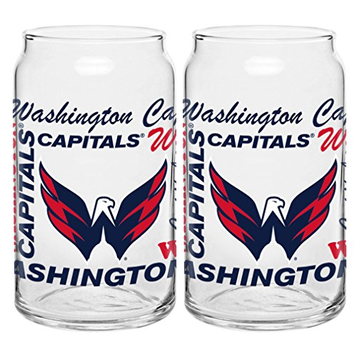 NHL Washington Capitals Spirit Glass Can, 16-ounce, 2-Pack