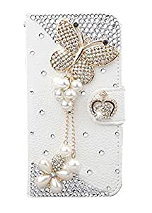 LG G4 Case,LG G4 Case - 3D Handmade Bling Crystal butterfly Heart Rhinestone Diamond Flowers PU Leather Wallet Type with Magnetic Clasp Credit Card Holder Design Folio Case Cover for LG G4