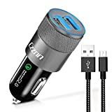 Czznn Car Charger Quick Charge 2.0 Dual USB Car Adapter Smart Charging for Samsung Galaxy Note with 3Ft Micro USB Android Cable