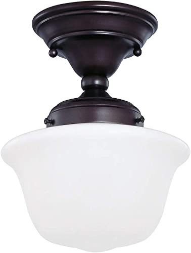 8 Inch Semi Flushmount Vintage Schoolhouse Style Ceiling Light with Bronze Finish and Opal White Milk Glass Shade