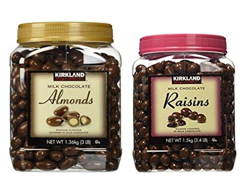 Kirkland Signature Chocolate Roasted Almonds & Chocolate Raisin Bundle - Includes Kirkland Signature Milk Chocolate Roasted Almonds (3.0 LB) & Milk Chocolate Raisin (3.4 LB)