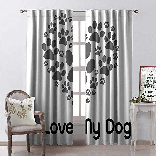 Dog Lover Waterproof Window Curtain I Love Dog Typography Typescript Text Heart Shaped Monochromic Artwork Veterinary Decorative Curtains for Living Room W108 x L84