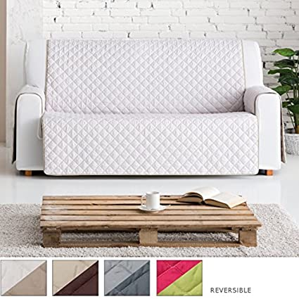 Jarrous Funda Cubre Sofá Práctica Modelo Reversible Baco, Color Beige-Marrón, Medida 1 Plaza – 55cm Respaldo