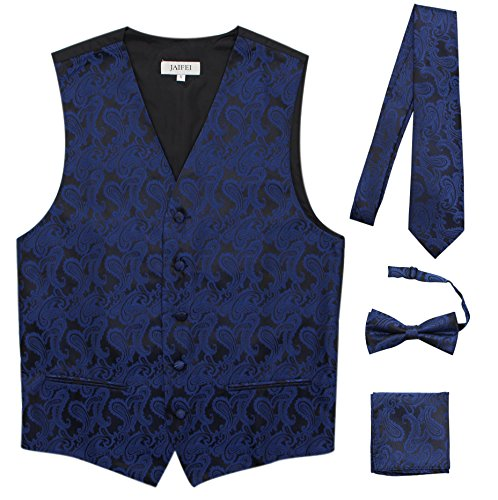 JAIFEI Premium Men's 4-Piece Paisley Vest For Sleek Looks On Formal Occasions (XL (Chest 45), Navy)