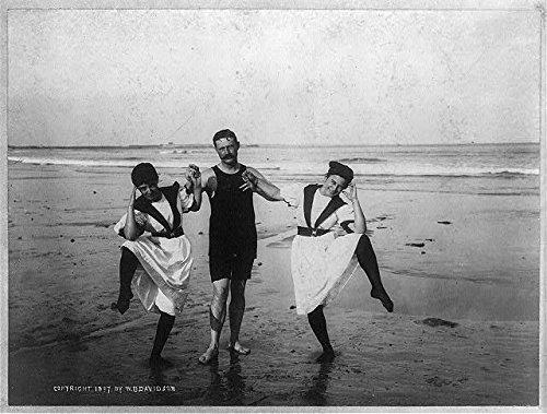Photo: Bathers,Women and Man wearing Bathing Suits,Beach,Funny Pose,c1897,Jamestown,RI