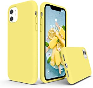 SURPHY Silicone Case Compatible with iPhone 11 Case 6.1 inches, Liquid Silicone Full Body Thickening Design Phone Case (with Microfiber Lining) for 11 2019, Yellow
