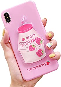 UnnFiko Squishy Liquid Fruit Case Compatiblewith iPhone 7/ iPhone 8, Creative Milk-Shaped Funny Play Case Soft Protective Cover (Strawberry, iPhone 7/8)