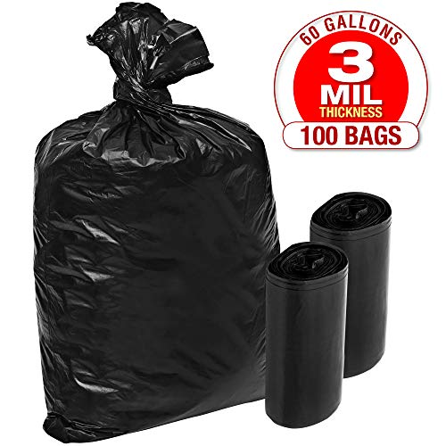 TOUGHER GOODS - 3 Mil Plastic Contractor Garbage Bags - 100 Pack Heavy Duty Black Trash and Storage Bags - 60 Gallon, Super Thick Industrial Grade for Construction, Yard Work, Commercial Use
