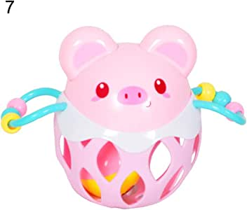 Anniston Kids Toys, Cute Cartoon Animal Baby Hollow Out Rattle Ball Toy Educational Child Hand Bell Baby Toys Perfect Fun Time Play Activity Gift for Boys Girls, Pig