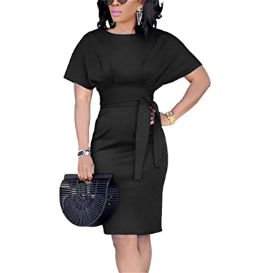 76b2c15354 Beautife Womens Work Pencil Midi Dress Casual Summer Short Sleeve Party  Dresses with Belt Black
