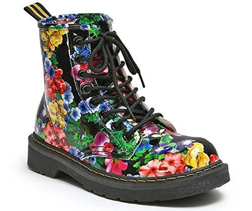 Cystyle Damen Stiefeletten Stiefel Warm Gefüttert Reißverschluss Blockabsatz Drucken Schnürstiefel Bikerboots Schuhe Drucken-Samt