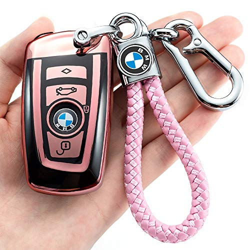 BMW 키 FOB 커버 케이스 BMW1 3 4 5 6 7 시리즈 및 호환 BMW X3X4M2M3M4M5M6 열쇠가없는 스마트 원격 핑크