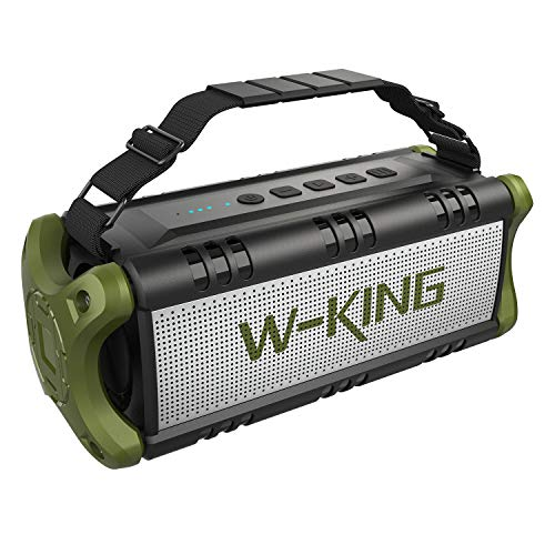 W-KING Wireless Bluetooth Speakers & 8000mAh Battery Power Bank - 50W Outdoor Portable Waterproof Speaker With Powerful Bass For iPhone, Tablet & Laptop - Loud Clear Stereo Sound - 100ft Range - Green