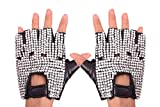 PZLE Women's Half Finger PU Leather Rhinestone Pole Dancing Punk Gloves