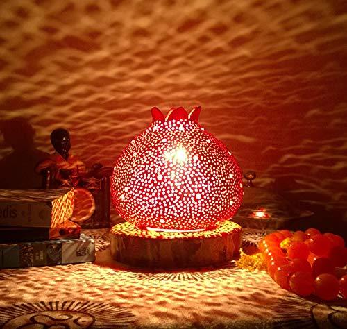 Simply Red | Gourd Lamp Night Light Boho Gift Idea Bohemian Living Room Home Decorations Christmas Wall Art by Rising Star Handmade