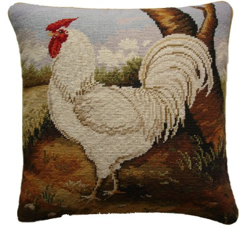 Deluxe Pillows White Rooster - 17 x 17 in. needlepoint -