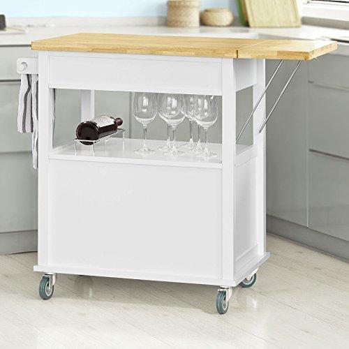 Sobuy Fkw19 Wn Desserte Sur Roulettes Meuble Rangement Chariot De Cuisine De Service Roulant Plan De Travail Extensible