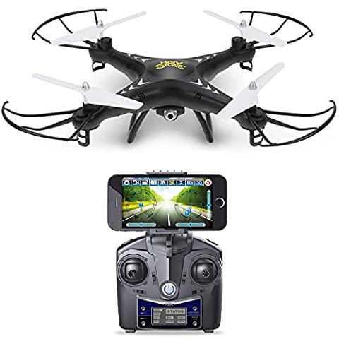 Holy Stone HS110 FPV Drone with 720P HD Live Video WiFi Camera 2.4GHz 4CH 6-Axis Gyro RC Quadcopter with Altitude Hold, Gravity Sensor and Headless Mode Function RTF, Color (Viper 300 Alarm)