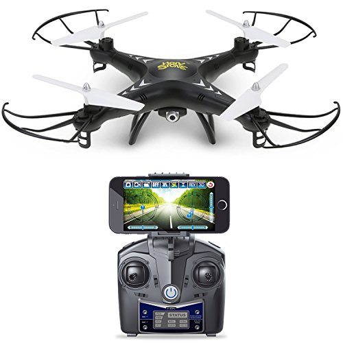 Holy Stone HS110 FPV Drone with 720P HD Live Video WiFi Camera 2.4GHz 4CH 6-Axis Gyro RC Quadcopter with Altitude Hold, Gravity Sensor and Headless Mode Function RTF, Color Black - Pro Model Goggle