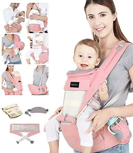 Azeekoom Draagzak, ergonomische heupstoel, draagzak met bevestigingsriem, slabbetjes, schouderriem, hoofdkap voor…